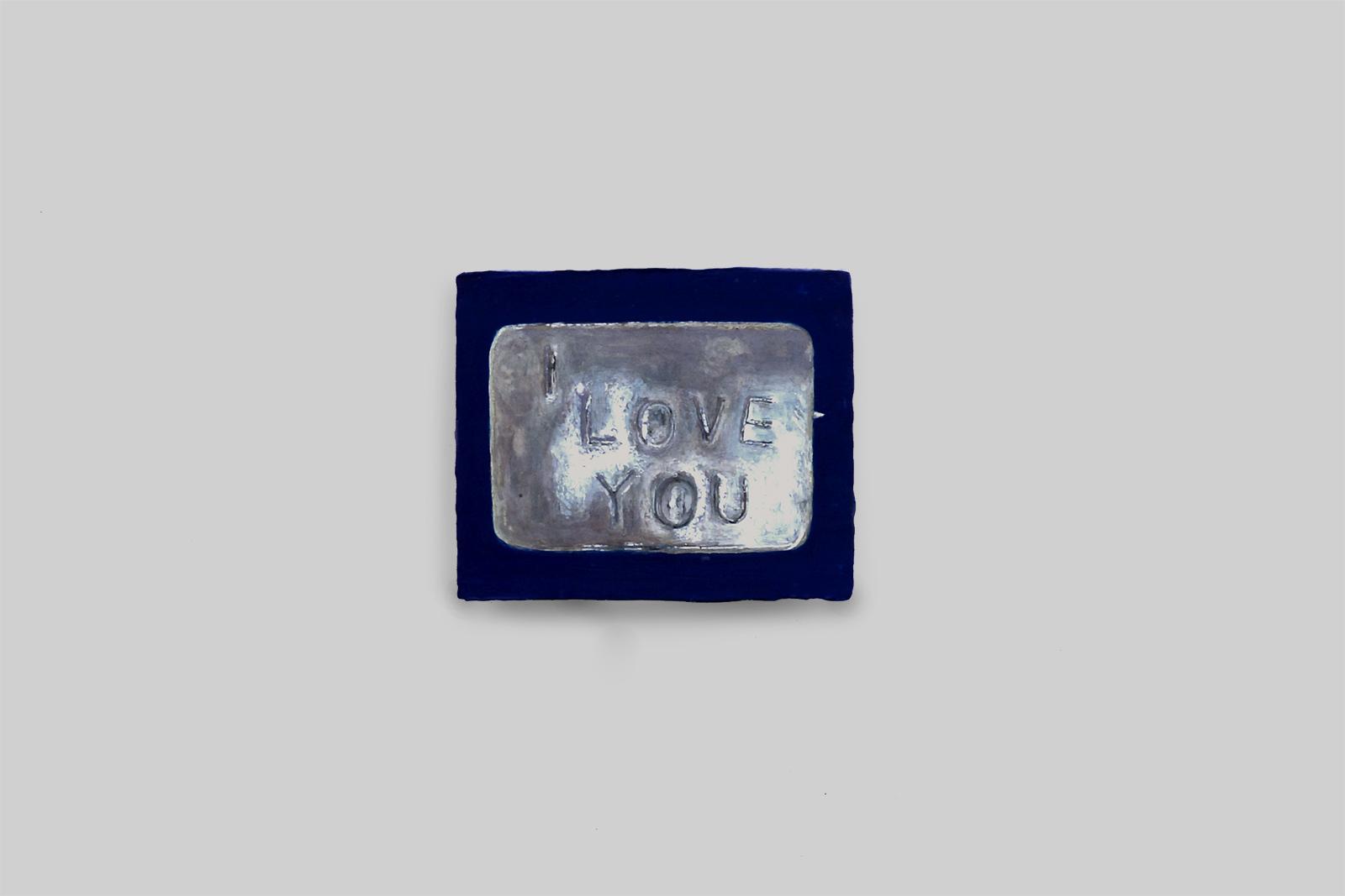 'I love you', 2013, tempera/paneel, 10 x 12 cm