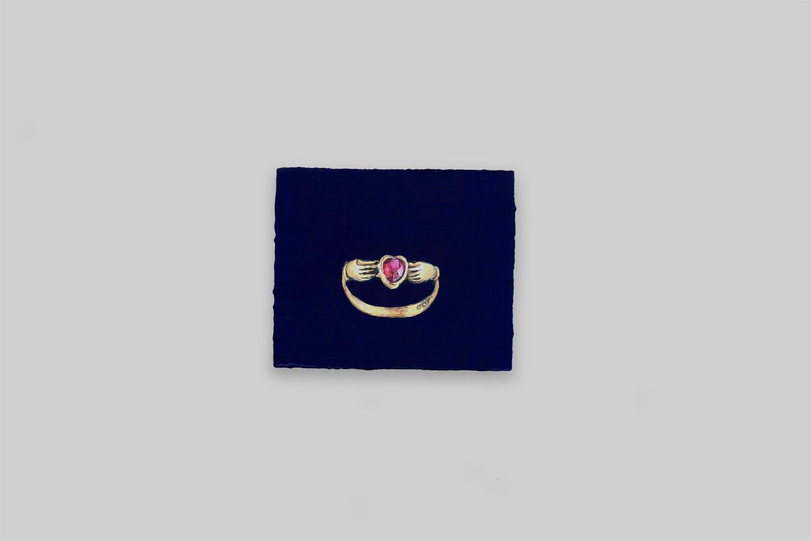 'ruby ring', 2012, tempera/paneel, 10 x 12 cm