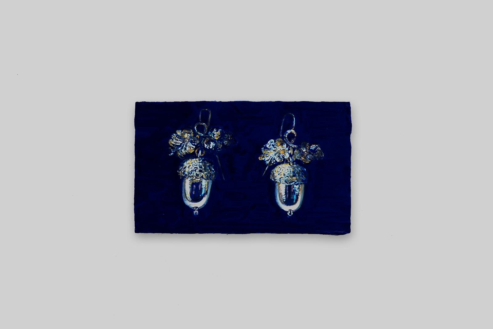 'eikeltjes oorbellen', 2015, tempera/paneel, 11 x 18 cm