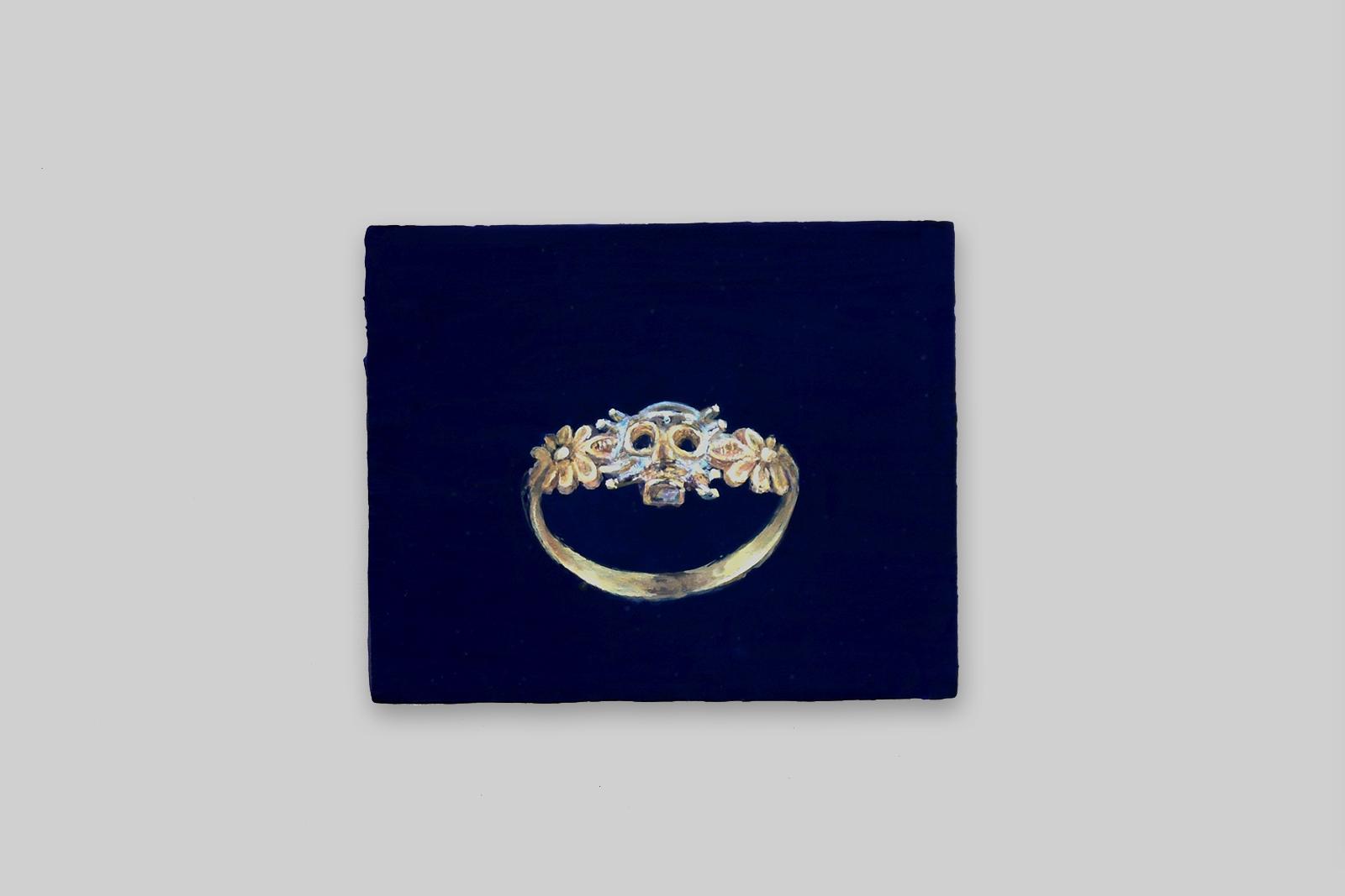 'memento mori ring', 2011, tempera/paneel, 14,5 x 18 cm